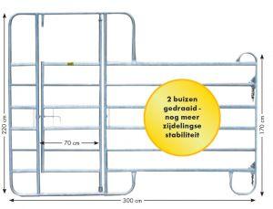 Paneel-8 koppelhek met behandeldeur, 3,00 x 2,20 mtr.
