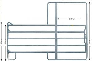 Pony paneelhek met poort 2,40 x 2,20 mtr.
