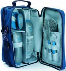 Luxe paardenborstelset 7-delig, in tas, blauw