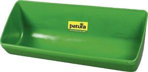 Lange kunststof voerbak, 13 liter, groen om vast te schroeven