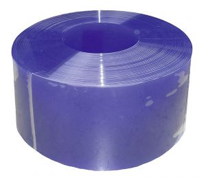 PVC-lamellen, 300 x 3 mm, blauw transparant, 25 m rol