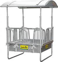 Vierkante paardenruif met veiligheidsvoerhekken, 8 voerplaatsen