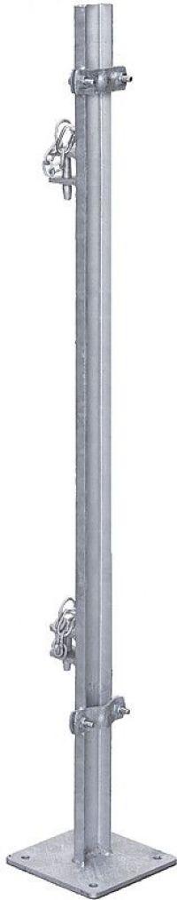 Paal L=1,35 m, met bodemplaat, ter montage van voerhekken aan panelen
