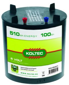 Batterij 6 Volt-510 Wh rond 100 Ah, alkaline