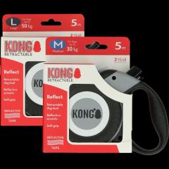 Kong Retractable Leash Reflect Grijs M (5m/30kg)