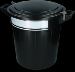 Voerton 80 liter zwart met deksel, lock en schrijflabel