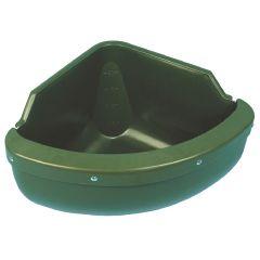 Voerbak kunststof, HOEK-model, groen 30L *inclusief rand*