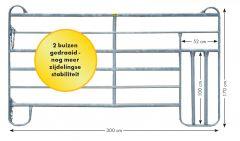 Paneel-6 koppelhek met kalverdoorgang 3,00 x 1,70 mtr