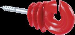 Kwaliteits ringisolator met houtschroef, rood, 6 mm (25 stuk/pak)