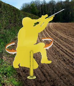 Jager Hunter vogelverschrikker, draait in de wind