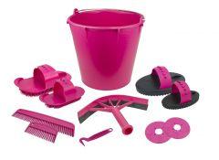 Poetsset van 10 items in emmer roze