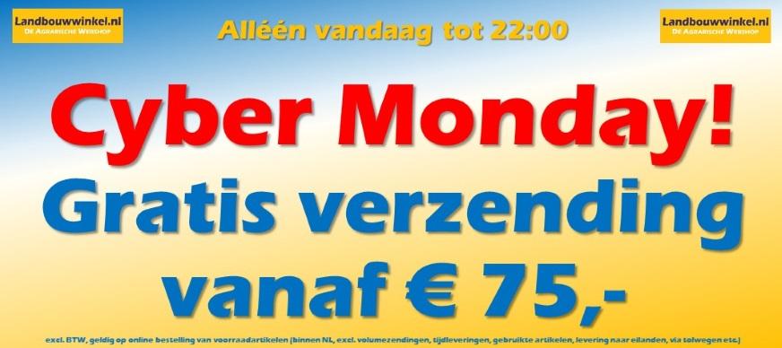 Cyber Monday - Geen verzendkosten vanaf euro 75,-