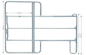 Paneel-3 koppelhek met poort, 3,00 x 2,20 mtr.