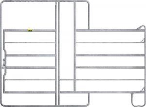 Paneelhek met poort en voerhek, gegalvaniseerd, 2,20 x 3,60 mtr.