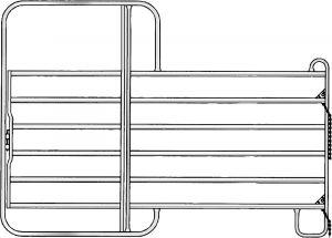 Paneelhek met poort, gegalvaniseerd, 2,20 x 3,00 mtr