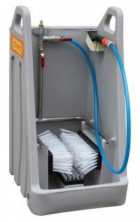 Laarzenreinigerbox, console met extra handborstel - RVS