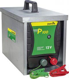 P100, Schrikdraadapparat voor 12 V accumet afgesloten draagbox Compact