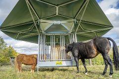 Schaduwdak systeem voor paarden t.b.v. voerruif