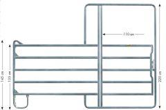 Pony paneelhek met poort 3,60 x 2,20 mtr.