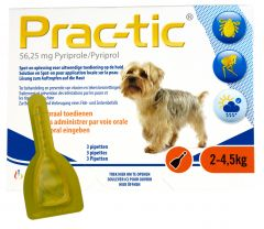 Prac-Tic 56,25 mg Teek&Vlo (2-4,5 kg) 3 pipet