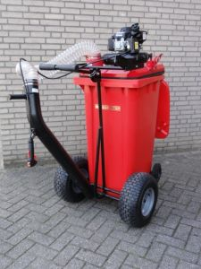 Motorzuiger met afvalcontainer 240 ltr op wielen